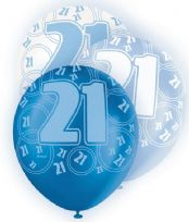 Blue Glitz Age 21 Latex Balloons (6)